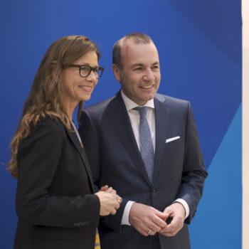 Pernille Weiss og Manfred Weber - EPP kongres 2018